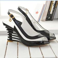 Women Black Color Buckle Decorated Transparent High Wedge Heel Sandal