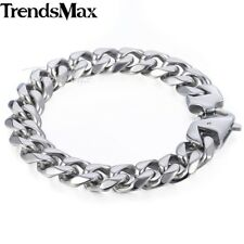 Mens Chain 14.5mm 316L Stainless Steel Bracelet Silver Cut Curb Cuban Link