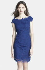 NWT $209 Betsy & Adam Allover Crochet Lace Cocktail Sheath Dress Sz 4 Royal Blue