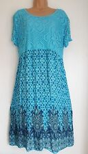 New Italian lagenlook Turquoise Blue summer Lace dress 16 18 20 22 onesize