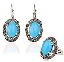 New Fashion Three-piece Ring Earrings Fake Crystal Jewelry Set for Women
