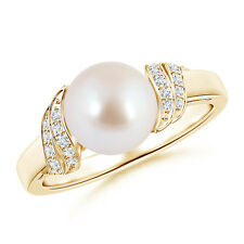 Round Akoya Cultured Pearl Solitaire Ring with Diamond Swirl 14k Yellow Gold