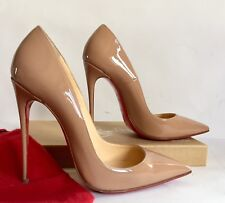 Christian Louboutin So Kate Nude Beige Patent Leather Pointed Toe Pumps Sz 38 8