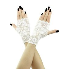 short mittens, fingerless gloves of fabric lace for bride on wedding, white 3085