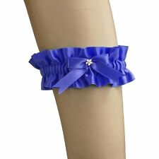 garter of satin has bow for bride on wedding, women's, Blue 0350