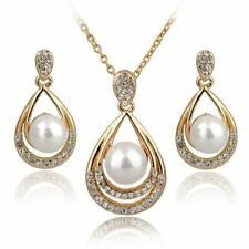 Simulated Pearl Wedding Crystal Gold Color Earrings Necklaces Set of Jewelry
