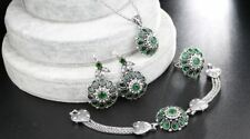 Women Fashion 4pcs Silver Plated Earrings Bracelet And Ring Necklace Set