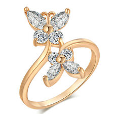 White Crystal Fashion exquisite zircon Ring Ring Size 6/7/8/9 Gift 18K GP