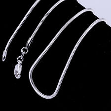 2mm 925 Silver Silver Plated Long Snake Necklace Lobster Clasp Mens