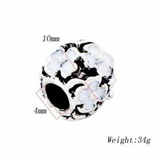 10Pcs European Flower beads Silver plated Charms for chain Bracelets 10*4mm