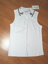 KENETH TOO KNIT TOP SHIRT SIZE PS WHITE EMBROIDERED NWT