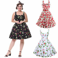 Womens 1950's Retro Cherry Rockabilly Pinup Housewife Party Swing Prom Dress