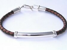 4.5 mm Black and Brown Bolo Braided Leather Cord Bracelet .925 Sterling Silver
