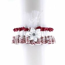garter of satin & lace has flower for bride on wedding, Red & white 0680
