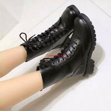 Womens faux Leather Lace Up Combat Military Ankle Boots Biker Shoes Size 5-10