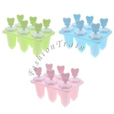 6 Cell DIY Ice Cream Pop Mold Popsicle Maker Lolly Mould Tray Pan Kitchen
