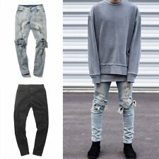 Mens Ripped Denim Jeans Pants Washed Straight Pants Pencil Distressed Trousers