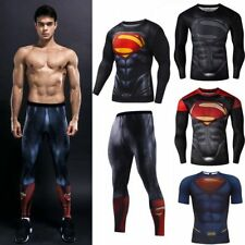 Men Superman Compression T-shirt Legging Pants Cycling Sport Gym Jersey Training