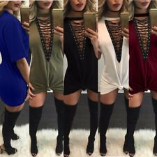 Sexy Women Front Plunge V Neck Casual Lace Up Tie Tops Shirt Mini Dress Party