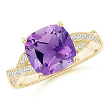 Solitaire Cushion Amethyst Criss Cross Ring with Diamonds 14k Yellow Gold/Silver