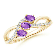 Oval Amethyst Three Stone Bypass Ring with Diamonds 14k Yellow Gold/ 925 Silver