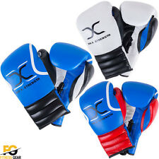 Real Leather Boxing Gloves Fight MMA Laces Punch Bag Mitt Training Martial Arts