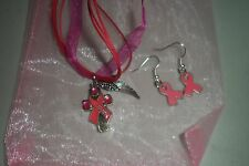 Cancer Awareness Cross/Ribbon  Necklace and earring jewelry Set