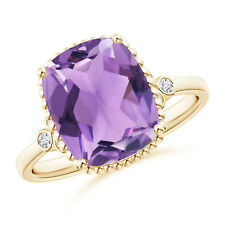 Cushion Amethyst Beaded Halo Ring with Diamond Accents 14K Yellow Gold