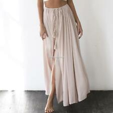 New Fashion Women Casual Solid Waist Lace Up A-Line Pleated Side Split SH