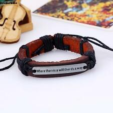 Fashion Punk Men Women Genuine Leather Belt Chain Bracelet Cuff Wristband Bangle