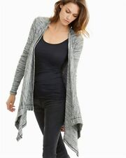 NEW $125 S, M THREE DOTS Savannah Gray Cardigan Sweater Draped Open Front Knit