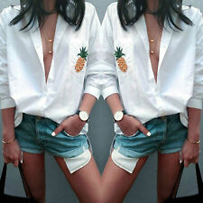 Ladies Casual Loose White Long T-Shirt V-Neck Long Sleeve Tops Blouse Sexy Women