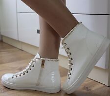 New Ladies White Hi Top Trainers Sneakers Gold Chain Ankle Boots Shoes Size