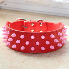 """Pink Spiked Studded Leather Dog Collar for Pitbull Bully Terrier neck 15""""-24"""""""