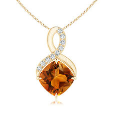 """Solitaire Citrine Diamond Infinity Pendant Necklace 18"""" Chain 14k Yellow Gold"""