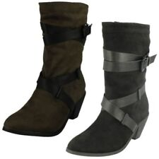 Ladies Spot On Casual Inside Zip Mid Calf Boots