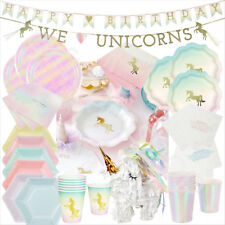 Talking Tables Party Birthday Tableware Unicorn Iridescent Pastel Plates Napkins