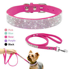 Bling Rhinestone Puppy Pet Dog Collar & Leash Set for Small Breeds XS S M