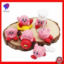 6pcs/set Anime Cartoon Cute Kirby Mini PVC Figures Toys with Keychain Pendants