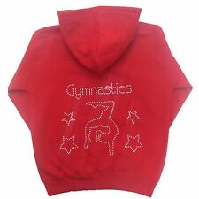 Girls Personalised Diamante Bling Gymnastics Gymnast Hoodie AGE 2-13 Years