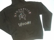 Girls Personalised Diamante Bling Gymnastics Gymnast Hoodie 2-13 Years