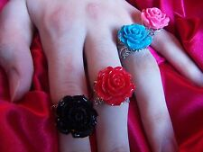 Filigree Silver Ring Rose Cabochon Ring Flower Bridal Gifts  Statement Rings