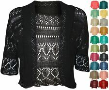 Plus size Womens Crochet Knitted Short Sleeve Ladies Bolero Cardigan Top Shrug