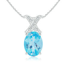 Solitaire Oval Swiss Blue Topaz and Diamond XO Pendant Necklace 14K White Gold