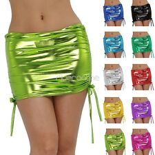 Sexy Womens Pleated Mini Skirt Shiny Flared Metallic Wet look Party Clubwear New