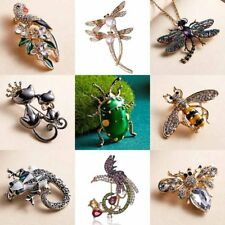 Women Cat Cartoon Animal Crystal Large bees insect Dragonfly Brooch Pin Jewelry