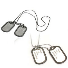 Military Army Style Black Sliver 2 Dog Tags Chain Mens Pendant Necklace Jewel...