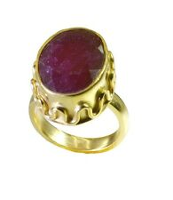 Indian Ruby Gold Plated Ring L-1in comely Red supplies AU K,M,O,Q