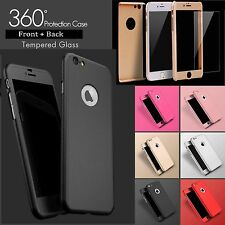 Hybrid 360° Shockproof Case Tempered Glass Cover For Apple iPhone 7 Plus