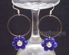 SALE Fashion Blue Jade and white pearl & Gold-color metal Ring Earring-ear614
